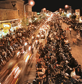 2008 Sturgis Motorcycle Rally, street at night.